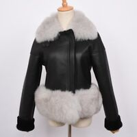 Women Genuine Sheepskin Leather Jacket Coat Fox Fur Collar Outwear Fashion 7421