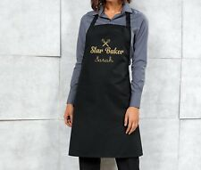 Personalised Star Baker Apron - Black/Gold - Mothers Day / Birthday Gift Present