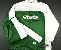 VTG Nike Michigan State Spartans Mens Basketball Warmup Full Suit Size 2XL/XL