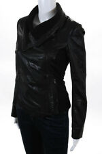 Bod & Christensen Black Lamb Soft Leather Collared Zip Moto Biker Jacket  S