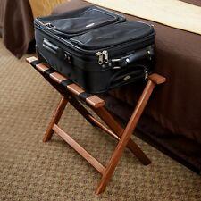 "Brown Heavy Duty Walnut Wood Folding Luggage Rack - 24 1/2"" x 15"" x 20"""