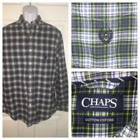 Ralph Lauren Chaps Cotton Oxford L/S Button Up Blue Tartan Plaid Shirt Sz M EUC