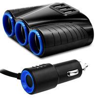 3-Way Car Cigarette Lighter Socket Splitter USB Charger Power Adapter DC 12V