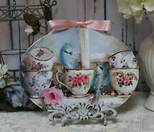 "Birds & Teacups"" Vintage ~ Shabby Chic Country ~ Cottage style ~ Wall Decor Sign"