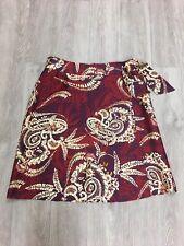 Talbots 100% Silk Purple Red Tie Wrap Skirt Sz 12