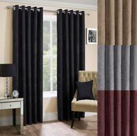 One Pair Of SUNDOUR Fully Lined Contemporary Suzy Faux Suede Eyelet Curtains