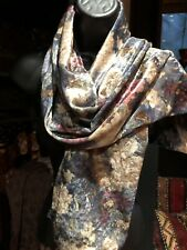 Vintage Flowered Velvet Shawl Scarf 60 In