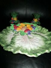 Rare Fitz & Floyd 1996 Italian Fruit Cabbage Leaves Canape Plate 2 Candlesticks
