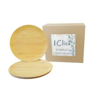 1 Click Bamboo Fiber 10 Inches Dinner Plates, Set of 4