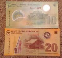 2 X Nicaragua Banknotes. 10 & 20 Cordobas. Unc. Polymer.