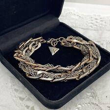 GUESS Multi Chain Bracelet Silver & Rose Gold Tone Layering 90s Y2K Retro Unisex