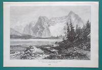 ITALY Tirol Dolomite Alps Peak of Sora Misurina Lake - 1892 Victorian Era Print