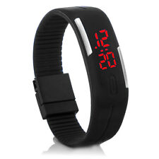 Digital Silikon LED Armband Uhr Armbanduhr Watch Herren Damen Kinder Schwarz