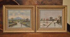 2 Vintage Mid Century N Petrilli Italian Italy Original O/C Paintings Prof Frame