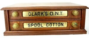 Antique CLARK'S Sewing Spool Cotton Oak 2 Drawer Store Display Cabinet Original