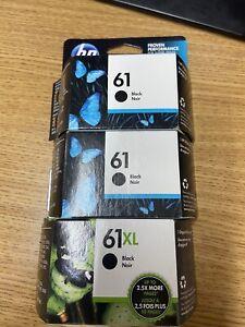 2 HP 61 Black Ink Cartridges And 1 Hp 61 Xl Black Cartridge