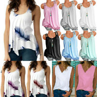 Plus Size Women Boho Tank Top Sleeveless Loose Vest Blouse Summer Casual T-shirt