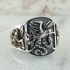 Eagle & Snake 925 Sterling Silver Black Onyx Gemstone Men's Ring Jewellery