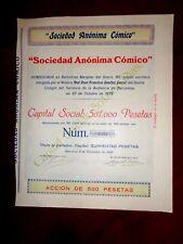 """""""Sociedad Anónima Cómico"""" Barcelona 1925 Share certificate Spain"""
