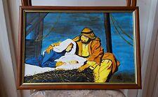 Tableau encadré représentant La Nativité, gouache sur toile cartonnée. F 41 X 27