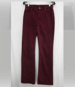 "Denim & Co. Sz 4 Reg ""How Modern"" Boot Cut Jeans w Stud Detail Wine NWOT"