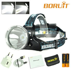 BORUiT XM-L L2 LED Hunting Headlamp Micro USB Headlight Flashlight Digital Light