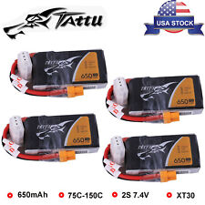 4Pcs Tattu 650mAh 2S 75C 7.4V Lipo Battery For Torrent 110 Micro Quad XT30 Plug