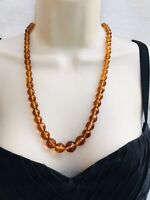 Vintage Art Deco 24' Graduating Yellow Crystal Amber Glass Faceted Bead Necklace