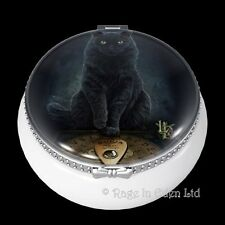 HIS MASTER'S VOICE Black Cat Art Mini Ceramic Trinket Box By Lisa Parker (5.5cm)