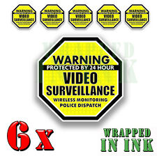 Video Surveillance Security Stickers Decals Warning YELLOW 6 pack Octagon 4""