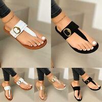Women Buckle Flat Sandals Summer Beach Flip Flop Slippers Thong Casual Shoes