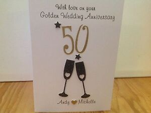 Handmade personalised Golden wedding anniversary card- personalised with names