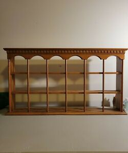 Vintage Solid Oak Wood Tea Cup and Saucer/knickknacks Wall Display Shelf
