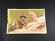 CHROMO CARD EN RUSSIE OURS TEDDY BEAR  CHILDREN   EPOQUE 1880 90