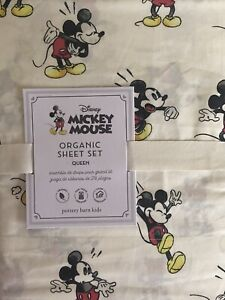 POTTERY BARN KIDS Organic Disney Mickey Mouse QUEEN 4 Piece Sheets Set NEW