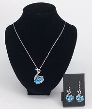 Swan Blue Topaz Pendant and Earrings Sterling Silver - House of Hollis Jewellery