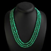 TRUELY AWESOME RARE 433.00 CTS NATURAL 3 STRAND GREEN EMERALD BEADS NECKLACE