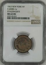 1863 Civil War Token Store Card Staudinger's Confectioner New York Ngc Ms62 Bn