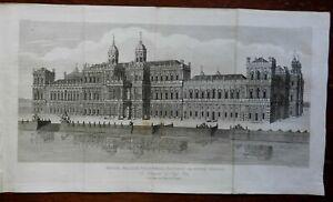 Whitehall British Royal Palace London Thames Rives 1892 engraved print