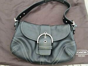 COACH Vintage SOHO Leather Adjustable Buckle Baguette Shoulder Bag D04S-9247
