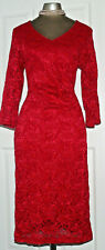 Red Lace Evening Wiggle Dress size 14 EU 42 Party