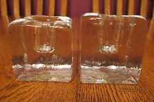 Pair Of Blenko Mid Century Hand Made Clear Glass Ice Block Style Candle Holders