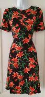 Womens Asos Black Floral Stretch Jersey Short Sleeve Vintage Style Tea Dress 12.