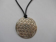 Authentic Large Flower of Life Charm Pendant 14kt Gold on a Black Leather Cord