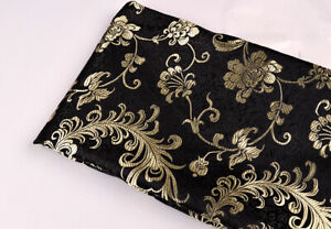 """28"""" WIDE DAMASK SILK BROCADE FABRIC : CHINOISERIE PHOENIX FEATHER FLORAL LEGEND"""