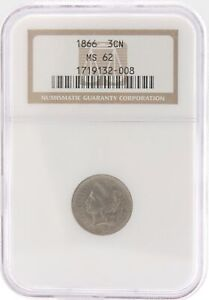 1866 NGC MS 62 3C Nickel Trime Uncirculated BU Liberty Head US Coin 1719132-008