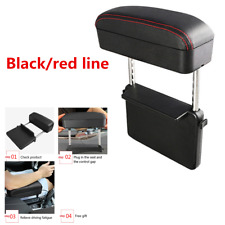 Adjustable PU Center Console Armrest Box Black/red line For Car Elbow Support
