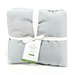 Pottery Barn Washed Sateen Duvet Gray Mist Full Queen F/Q New $129