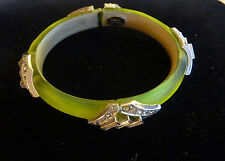 Alexis Bittar Lucite Deco Neon Yellow Bangle Hinged Bracelet with Crystals AUTH