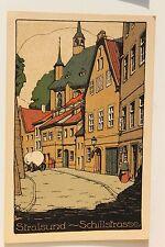 26554 Steindruck Künstler Stein Zeichnung AK Stralsund Schiller-Straße um 1910